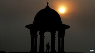 Raisina Hill, which houses important government buildings,as the sun sets in the horizon, in New Delhi, India