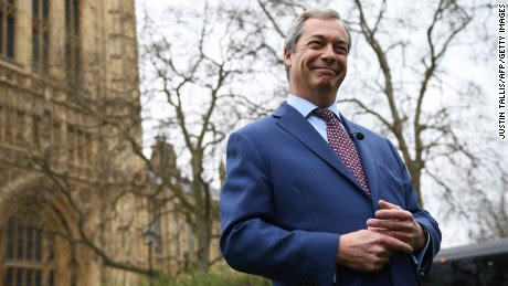 Nigel Farage, former Leader of the United Kingdom Independence Party (UKIP), reacts as he gives a television interview outside the Houses of Parliament in central London on March 29, 2017. British Prime Minister Theresa May will formally launch Brexit today after signing the letter to begin the country's departure from the European Union. / AFP PHOTO / Justin TALLISJUSTIN TALLIS/AFP/Getty Images