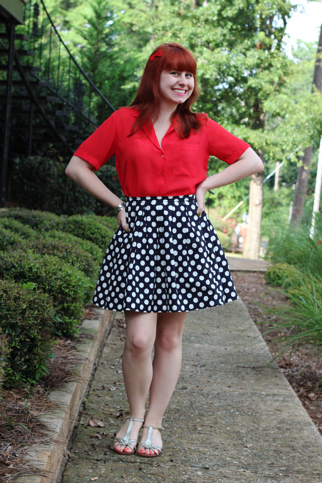Red Blouse, Polka Dot Pleated Skirt, Silver Sandals