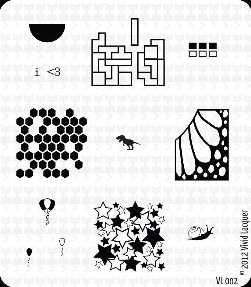 VL-002 Nail Art Stamping Plate - half moon, geometric shapes, squares, honeycomb, butterfly wing, balloons, snail,  dinosaur, stars