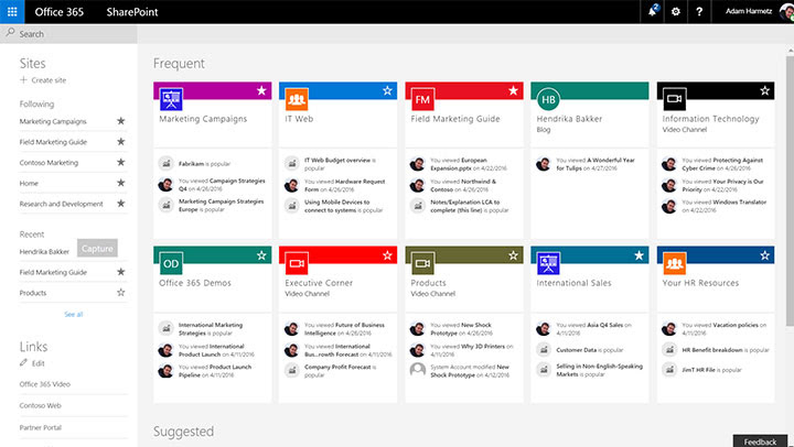 SharePoint home page with activity zoomed out for more cards