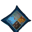 "Handmade Brocade Silk Patch Work Blue Turquoise Pillow Case Cushion Cover, Size 16"" x 16"": Amazon.in: Home & Kitchen"