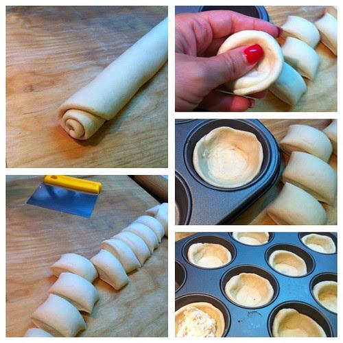 cestini di pane con gorgonzola e noci