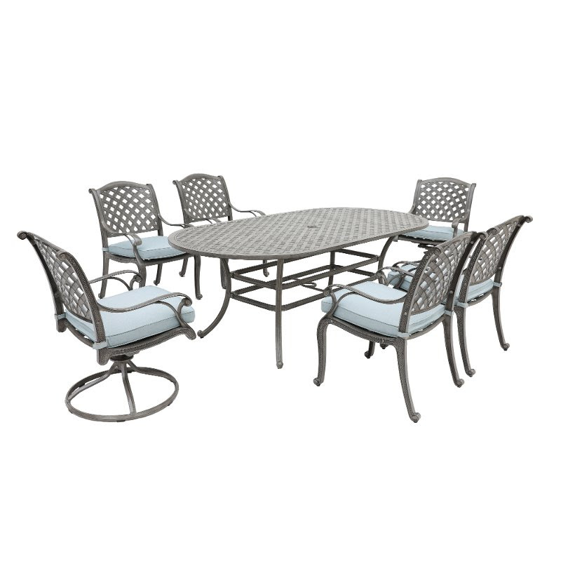 Gray Metal 7 Piece Outdoor Patio Dining Set Macan Rc Willey Furniture Store