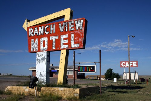 ranch view motel neon sign