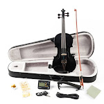 Glarry Full Size Acoustic EQ Electric Violin Outfit 4/4 Size for Beginner - Black