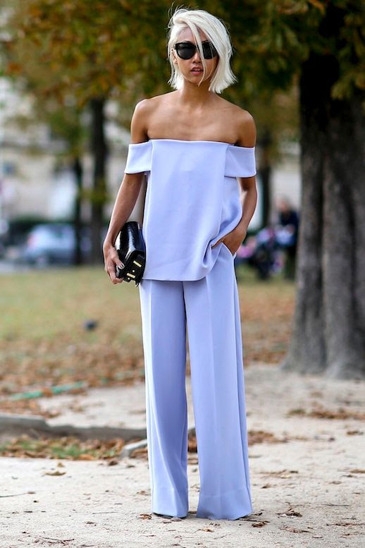 19 Le Fashion 31 Stylish Ways To Wear An Off The Shoulder Look Street Style Vanessa Hong The Haute Pursuit Via Style Caster