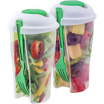 Home Basics Portable Healthy Food Salad Storage On-The-Go Containers, Green, 11 oz - 2 pack