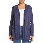 Nic + Zoe Womens Plus Long Duster Cardigan Sweater Navy 3X