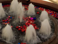 Holiday decorations in the fountain at Manhattan Mall