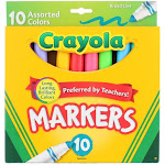 Crayola Broad Line Markers, Assorted Colors, 10 Ct