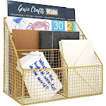 Paper Junkie Gold Desk File Organizer for Letter Mail Accessories 4 Compartment 11.5 x 7 x 10