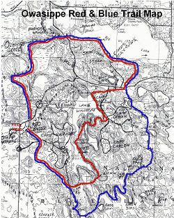 small map of trails at Camp Owasippe