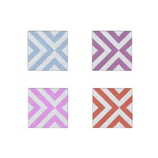 Chevrons Pattern Stone Magnet Set: Spring Colors