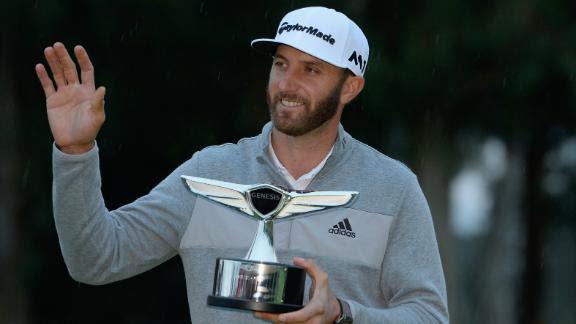 Dustin Johnson with Genesis Open trophy