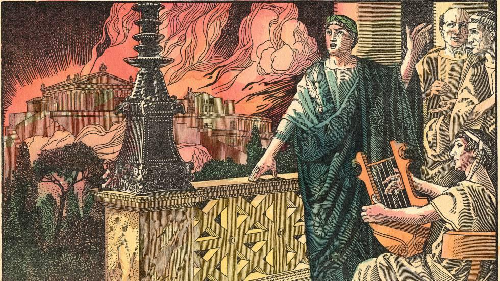 Grabado de Nerón observando el Gran incendio de Roma.