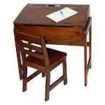 Slanted Top Desk and Chair in Walnut HO92716
