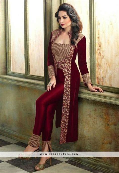 Pleasance Maroon Velvet Achkan Style Salwar Suit   SALWAR