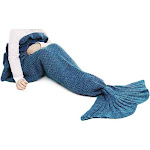 Altatac Mermaid Tail Blanket Knit Crochet Warm & Soft Sofa Blankets for Kids - Lake Blue