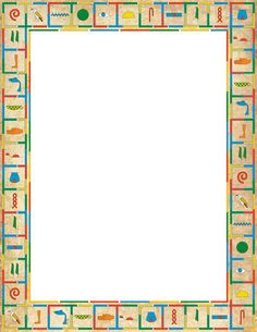 A colorful page border featuring objects related to Ancient Egypt ...