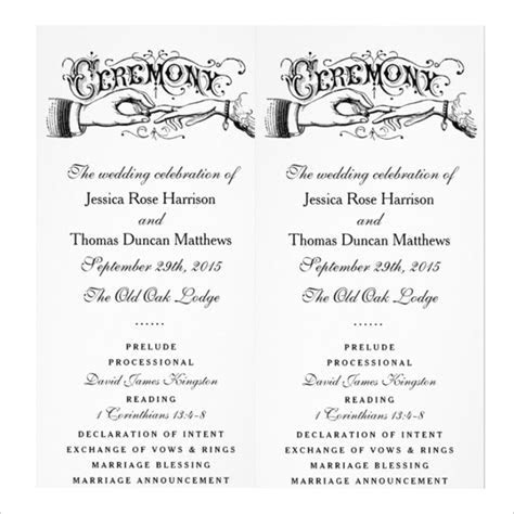 19  Wedding Ceremony Templates ? Free Sample, Example