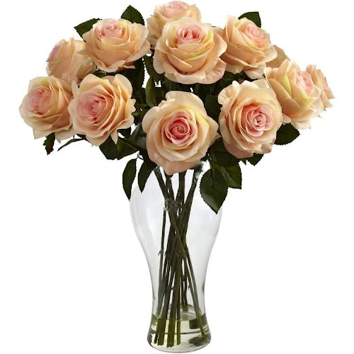 Google express nearly natural 1328 wh blooming roses with vase nearly natural 1328 wh blooming roses with vase silk flowers mightylinksfo