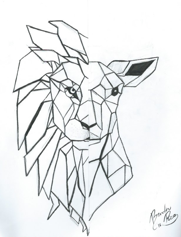 Geometric Lion Drawing At Getdrawingscom Free For Personal Use