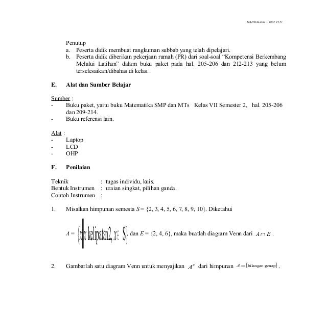 Contoh Himpunan Semesta Matematika Kelas 7 Contoh Sur