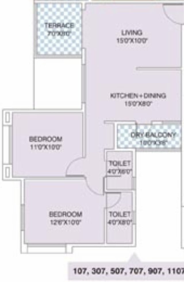 Nirman Viva 907 E Front 642 Carpet + Terrace for Rs. 41,07,425 + 5,000 Misc + ST + VAT
