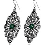 Fashion Alloy Silver-Tone White CZ Green CZs Large Dangle Drop Earrings