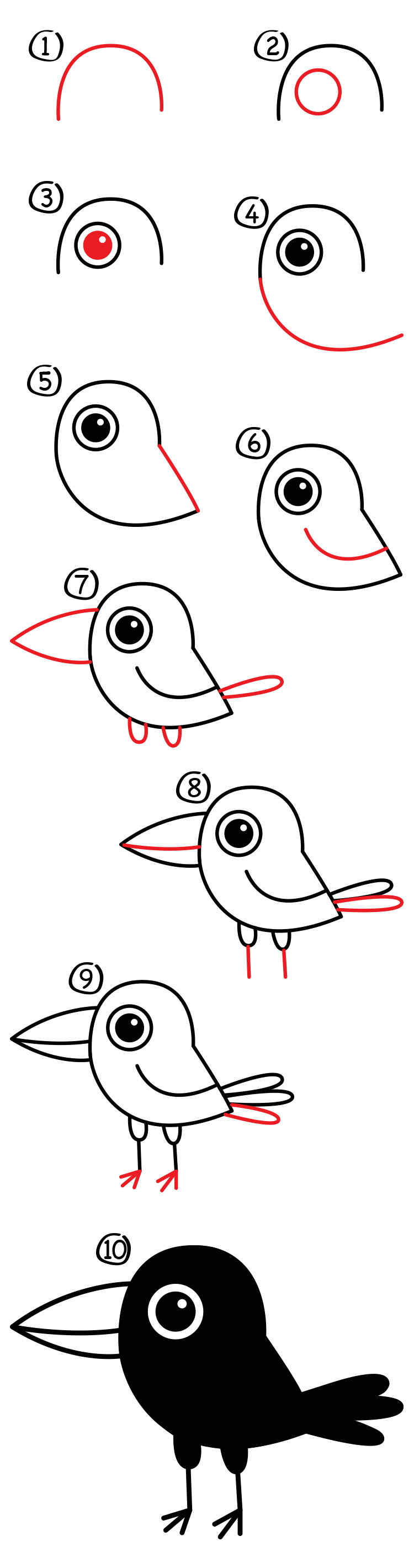 Download How To Draw A Cartoon Raven - Art For Kids Hub