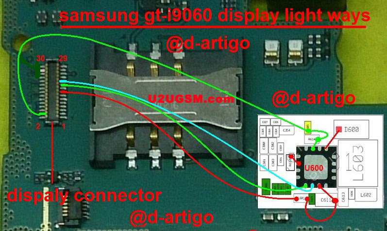 Samsung Galaxy Grand Neo I9060 Cell Phone Screen Repair Light Problem Solution Jumper Ways