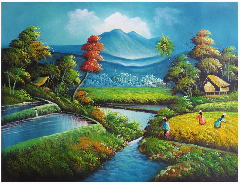 gambar lukisan alam yang indah - Pemandanganoce