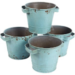 4-Set Vintage Galvanized Planter Buckets - Garden Bucket with Handles, Galvanized Metal Pail, Ideal for Planting, Decoration, Storage, Green, 4.7 x