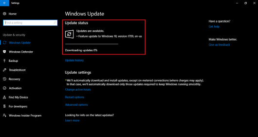 WSUS Server - Feature update to Windows 10, version 1709 stuck at Downloading