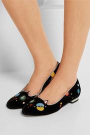 Abstract Kitty embroidered velvet slippers