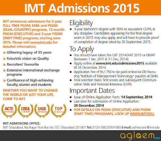 IMT Admission 2015 - Institute of Management Technology
