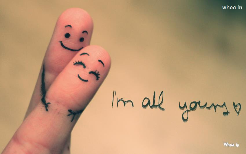 Two Fingers Love With Quotes Like I Am All Yours Hd Love Wallpaper