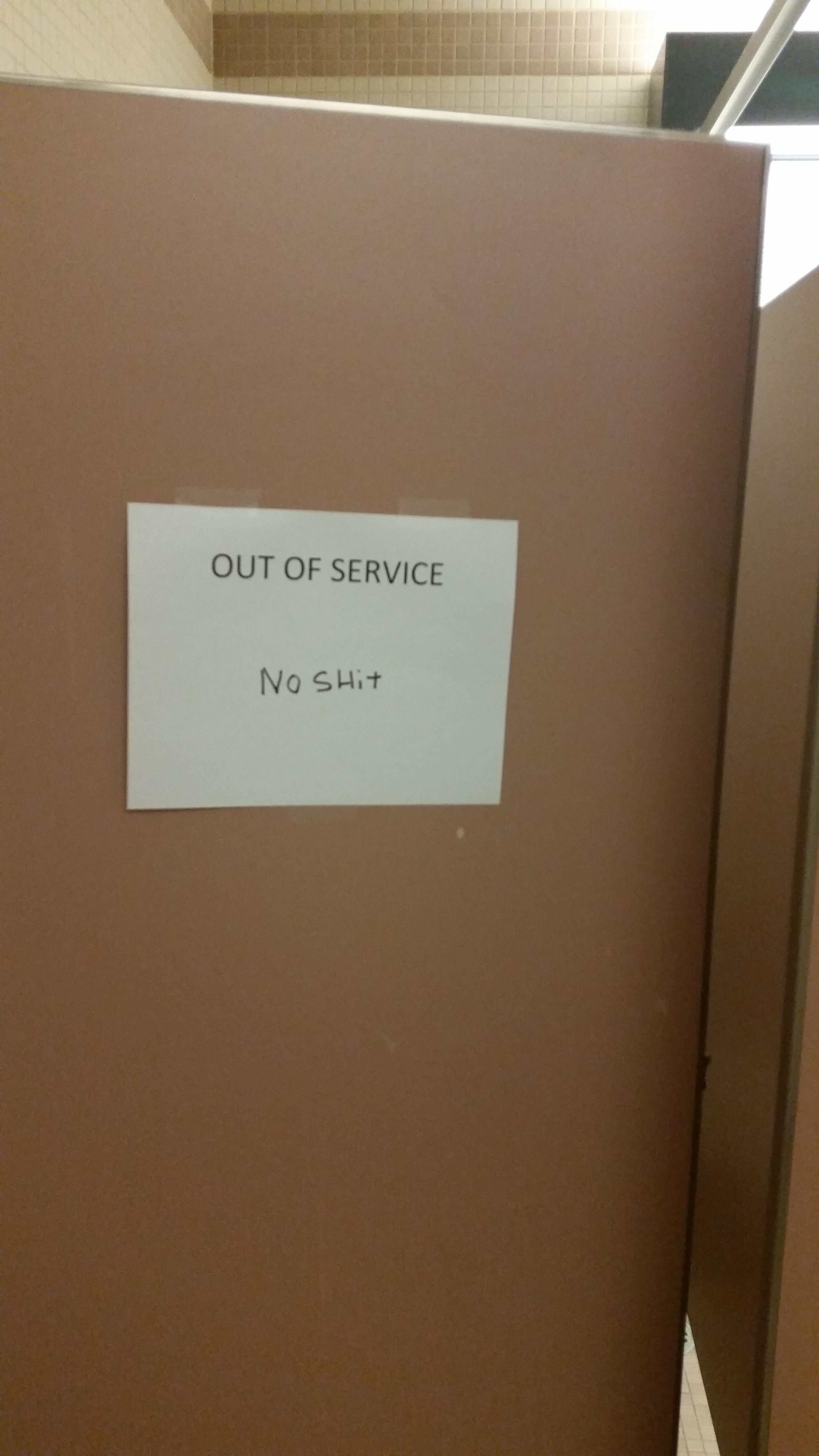 Bathroom Stall At Work Was Out Of Order So I Made A Slight
