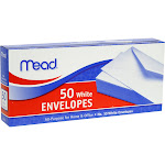 """Mead All-Purpose Envelopes, White, 4"""" x 9.5"""" - 50 count"""