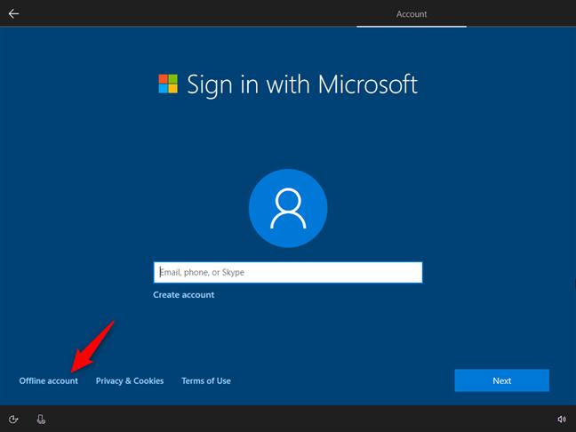 Optar por usar una cuenta fuera de línea en lugar de una cuenta de Microsoft