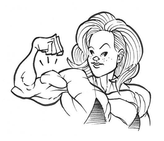 Dibujo De Mujer Fuerte Musculosa Y Fisiculturista Con Buen Brazo