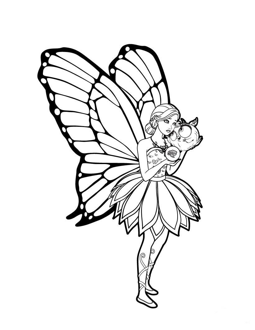 Barbie Mariposa Para Colorear Pintar E Imprimir