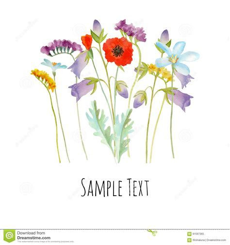 Watercolor flowers card stock vector. Illustration of