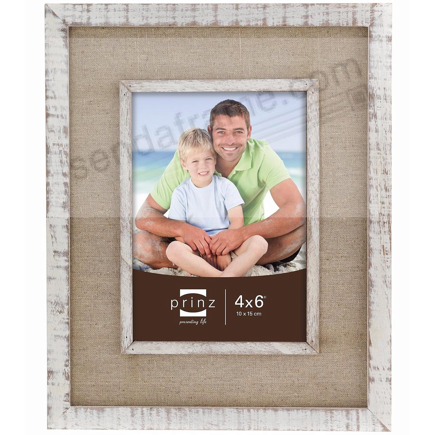 Shore Side Distressed White 4x6 Frame With Beige Linen Border By