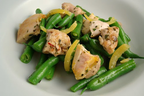 Saffron Chicken, Boiled Lemon and Green Bean Salad