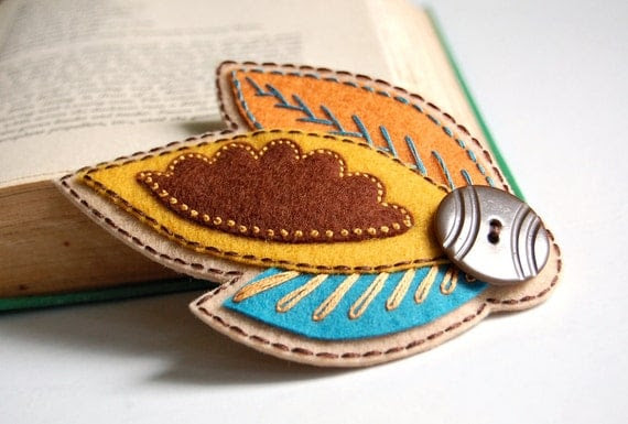 Embroidered Hair Clip- Autumn Leaves