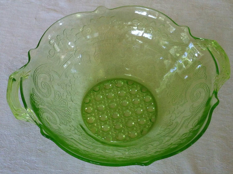 Lancaster Glass-Green Depression Glass Handled by SanfordAndMe
