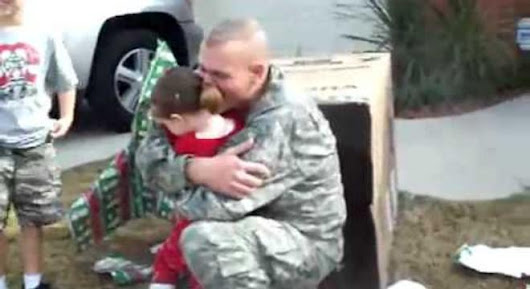 Soldier, Hiding In A Box, Surprises Daughter On Christmas
