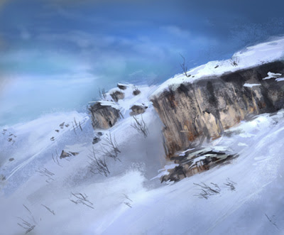 how to draw, painting, enviroment, snow, mountain, rock, cliff, background